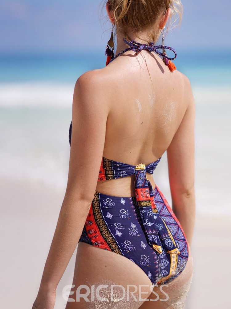 Ericdress Geometric Hollow Print Swimwear