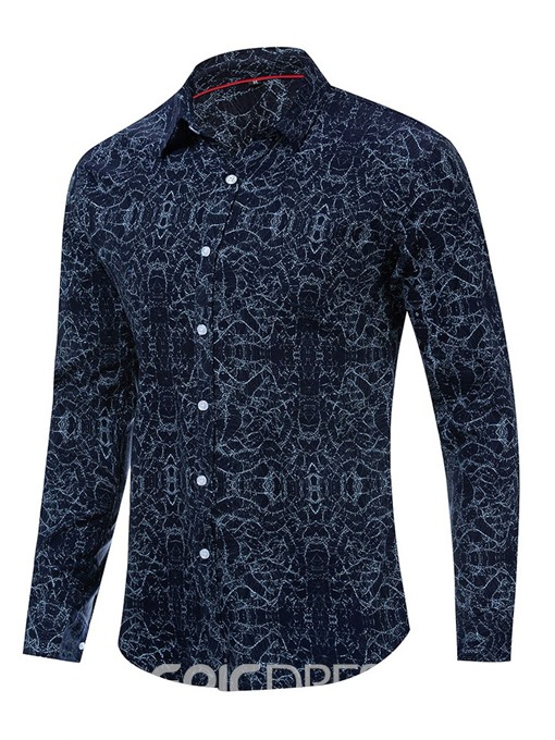 Ericdress Button Lapel Single-Breasted Mens Slim Shirt