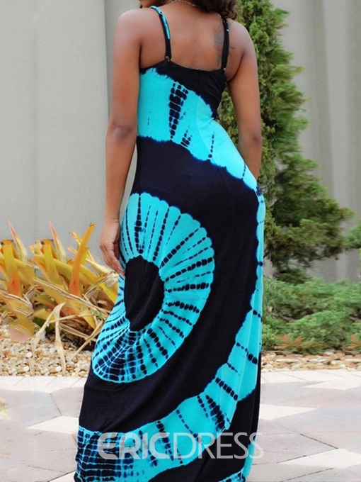 Ericdress African Fashion Floor-Length Geometric Sleeveless A-Line Dress