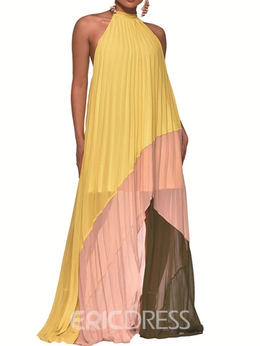 Ericdress Pleated Lace-Up Backless Sleeveless Color Block Maxi Dress