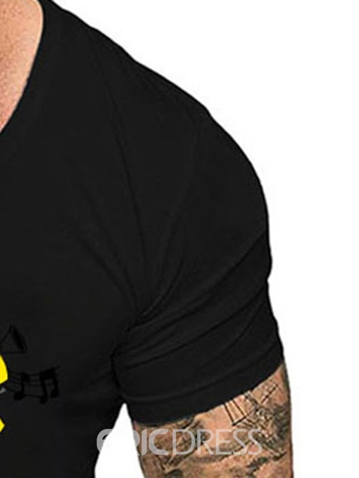 Ericdress Casual Letter Print Short Sleeve Mens Slim T-shirt
