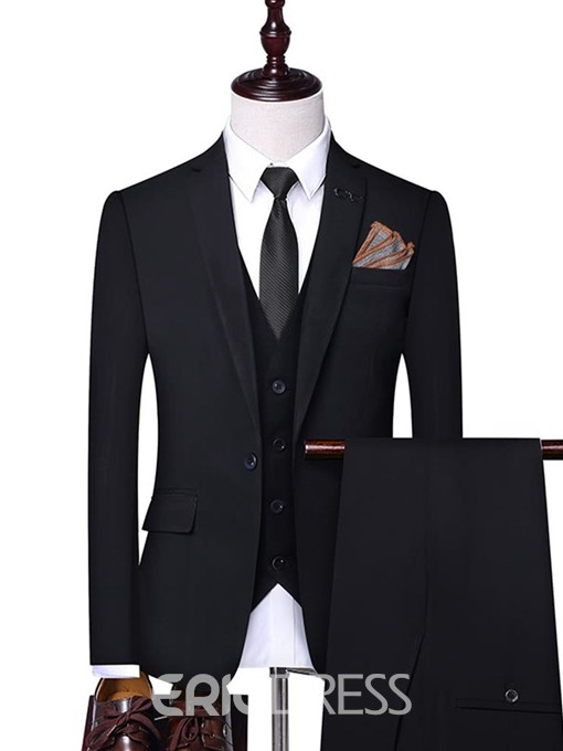 Ericdress Plain One Button Pants Mens Dress Suit
