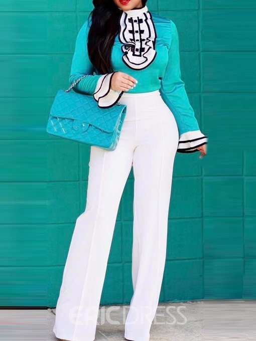 Ericdress Color Block Skinny Straight T-Shirt And Pants Two Piece Sets
