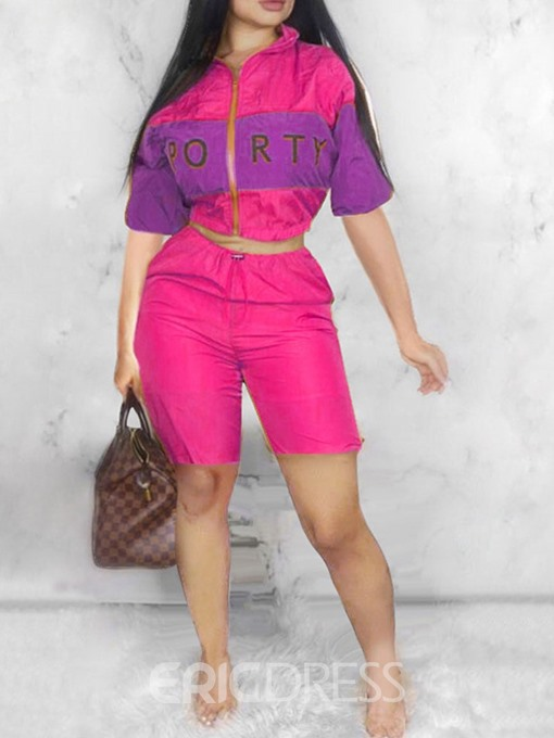 Ericdress Letter Zipper Color Block Straight Jacket And Shorts Two Piece Sets