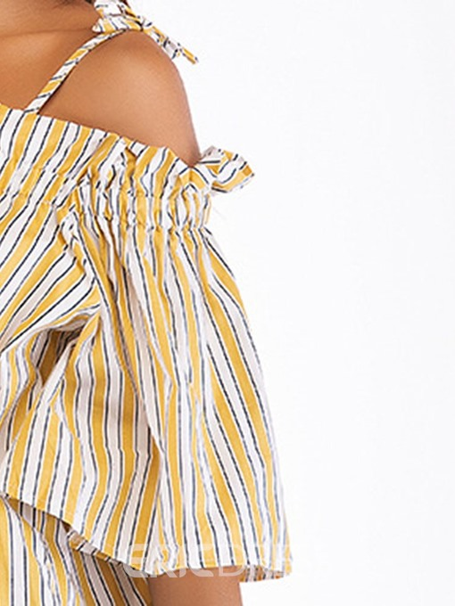 Ericdress Stripe Patchwork Lace-Up Half Sleeve Blouse