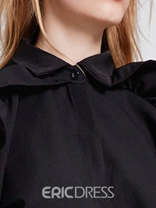 Ericdress Zipper Lapel Button Standard Blouse