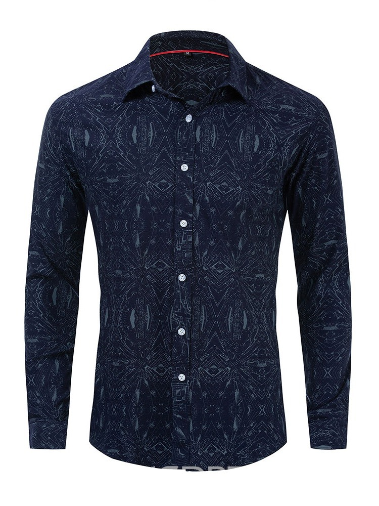 Ericdress Button Lapel Fall Mens Single-Breasted Shirt