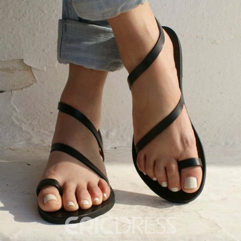 Ericdress Plain Toe Ring Women's Flat Sandals