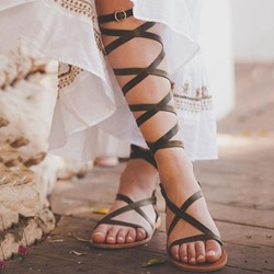 Ericdress PU Ankle Strap Buckle Womens Flat Sandals thumbnail