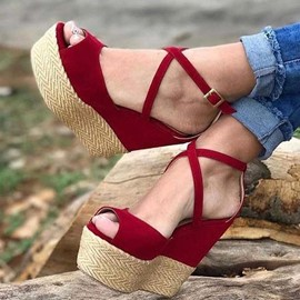 Ericdress Faux Suede Heel Covering Buckle Wedge Heel Women's Sandals