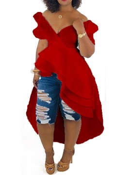 Ericdress African Fashion Asymmetric V-Neck Off-shoulder Long Blouse