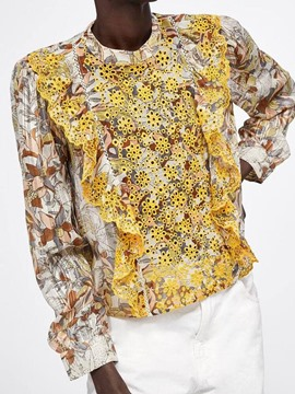 Ericdress Hollow Floral Embroidery Summer Blouse