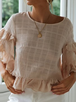 Ericdress Flare Sleeve Round Neck Ruffles Blouse