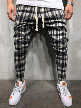 Ericdress Pencil Pants Plaid Lace-Up Mid Waist Mens Casual Pants