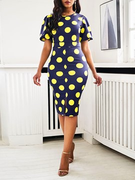 Ericdress Short Sleeve Mid-Calf Round Neck Bodycon Polka Dots Dress