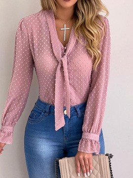 Ericdress Lace-Up Polka Dots Regular Slim Blouse