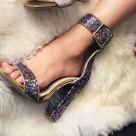 Ericdress Sequin Heel Covering Open Toe Chunky Heel Women's Sandals