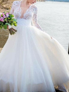Ericdress V-Neck Lace Top Long Sleeve Wedding Dress