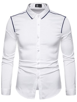 Ericdress Color Block Button Lapel Mens Slim Shirt