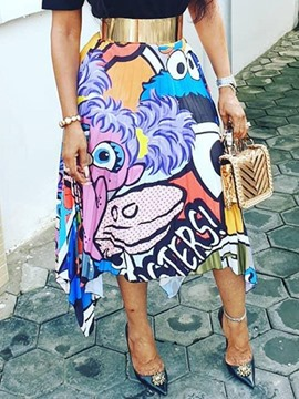 Ericdress Pleated Print Cartoon Maxi Skirt(Without Belt)