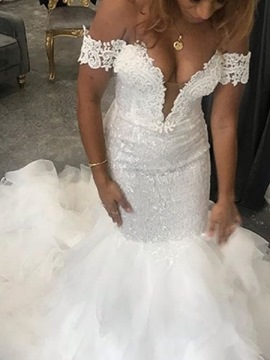 Ericdress Mermaid Off-The-Shoulder Lace Church Wedding Dress 2020