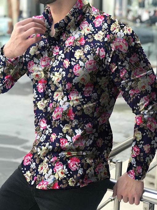 Ericdress Lapel Print Floral Single-Breasted Mens Slim Shirt