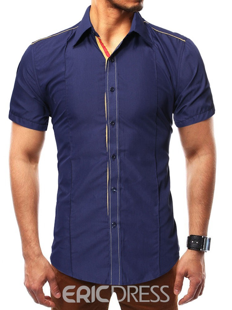 Ericdress Button Lapel Color Block Single-Breasted Mens Slim Shirt