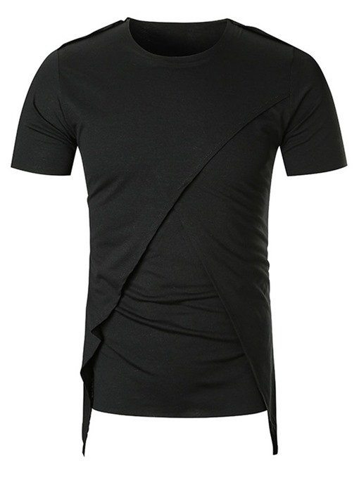 Ericdress Round Neck Plain Casual Short Sleeve Mens Slim T-shirt