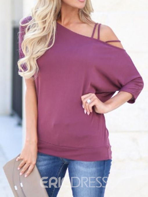 Ericdress Patchwork Three-Quarter Sleeve Casual T-Shirt