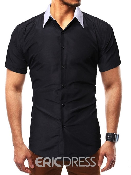 Ericdress Color Block Casual Button Single-Breasted Mens Summer Shirt
