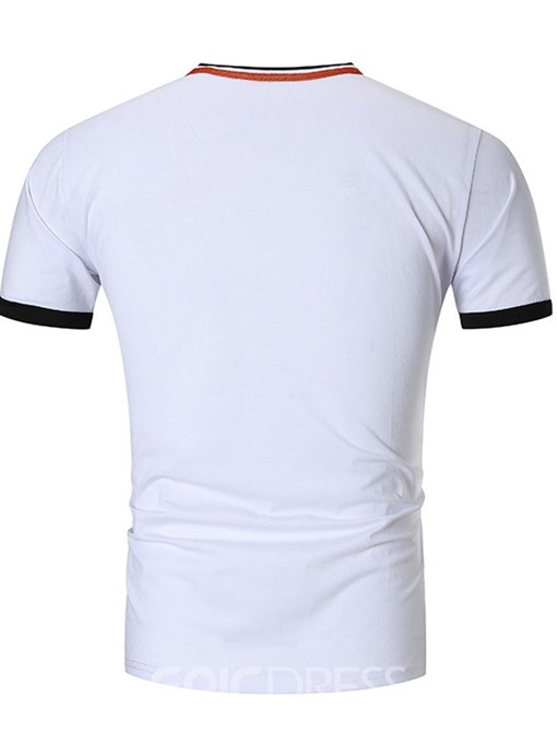 Ericdress Button Color Block V-Neck Slim Mens T-shirt