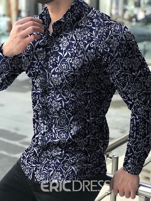 Ericdress Casual Print Floral Single-Breasted Mens Shirt