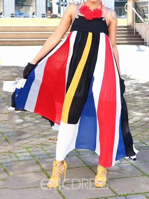 Ericdress Sleeveless Ankle-Length Patchwork High Waist Color Block Dress