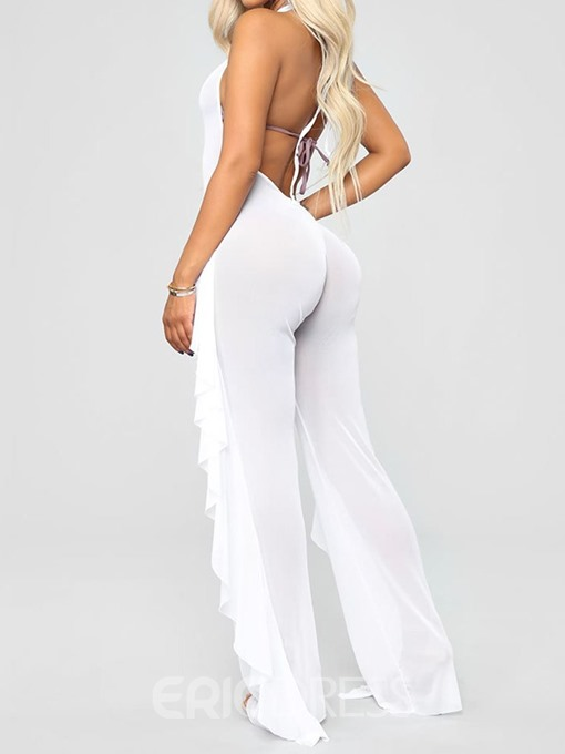 Ericdress Plain Backless Lace-Up See-Through Sexy Jumpsuit