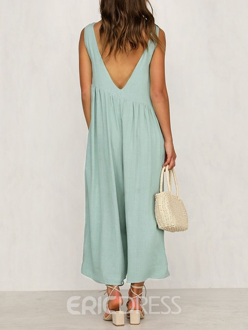 Ericdress Plain Pleated Wide Legs Loose Jumpsuit