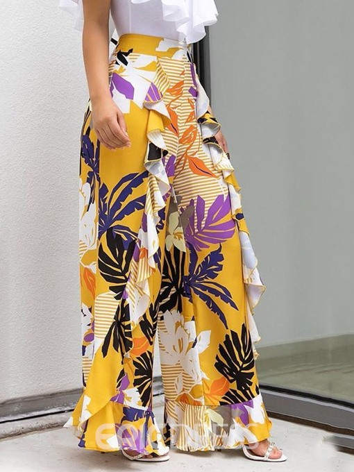 Ericdress Print Ruffles Loose Wide Legs Full Length Casual Pants
