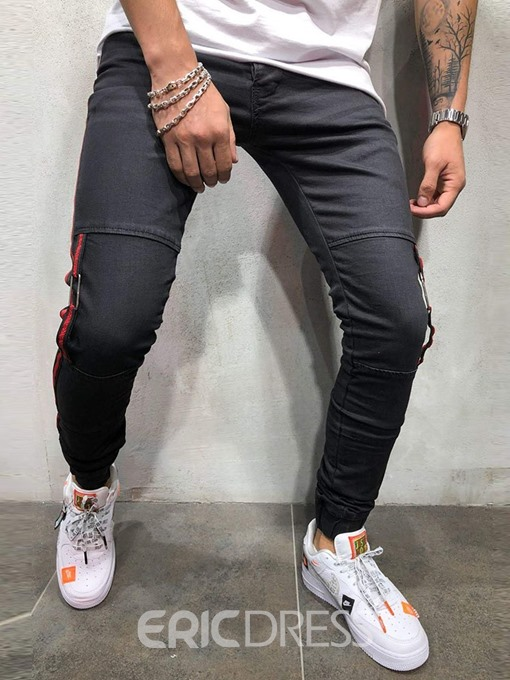 Ericdress Pocket Thin Zipper Mens Casual Slim Jeans