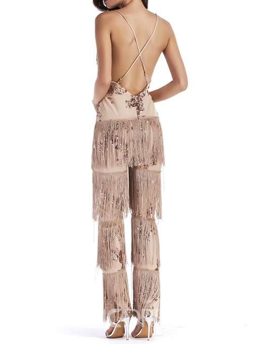 EricdressPlain Straight Slim Tassel Sequins Jumpsuit
