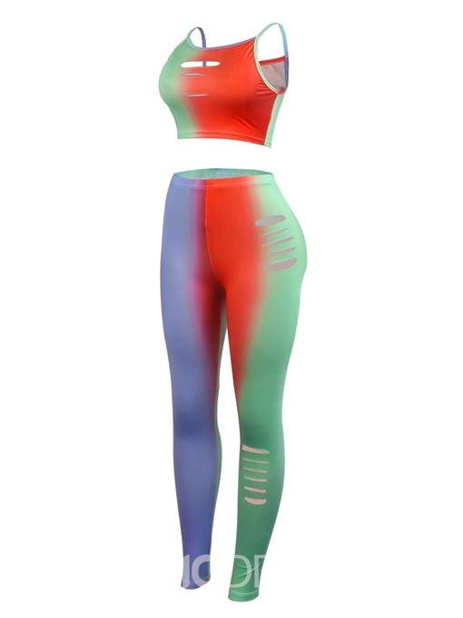 Ericdress Hole Color Block Sexy Slim Vest And Pants Two Piece Sets
