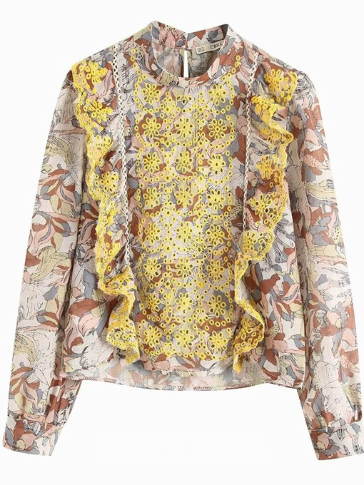 Ericdress Hollow Floral Embroidery Dashiki Blouse