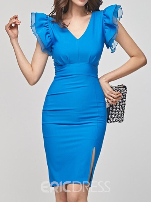 Ericdress Falbala Cap Sleeve V-Neck Ruffle Sleeve Plain Dress