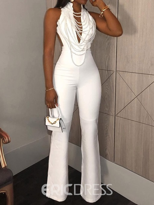 Ericdress Plain Sexy Necklace High Waist Slim Jumpsuit