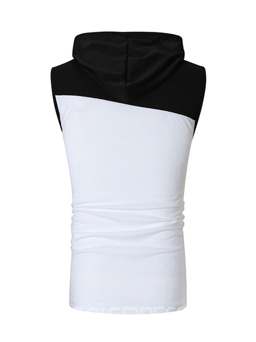 Ericdress Color Block Hooded Slim Casual Mens Summer Vest