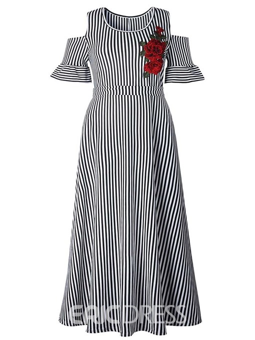 Ericdress Striped Cold Shoulder Round Neck Ankle-Length Dress