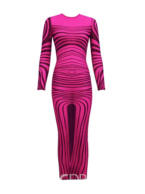 Ericdress Ankle-Length Round Neck Long Sleeve Mid Waist Sexy Dress