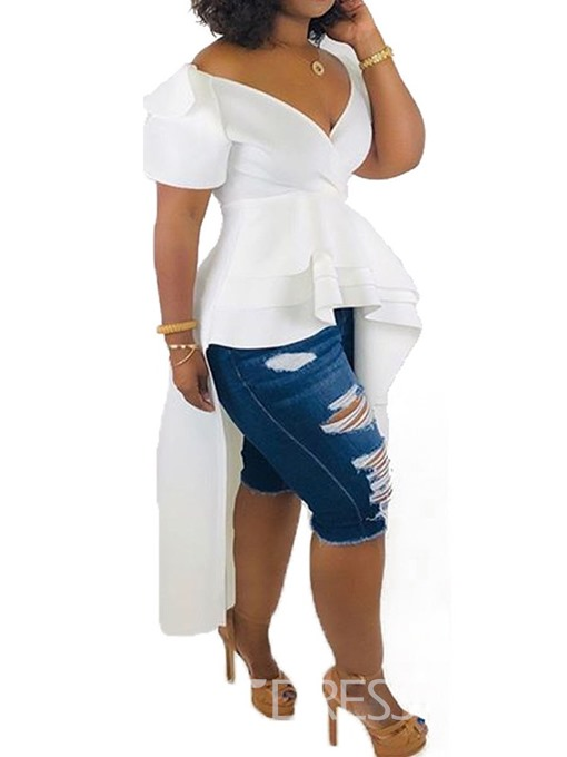 Ericdress Asymmetric V-Neck Off-shoulder Long Blouse