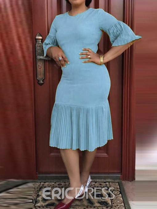 Ericdress Round Neck Pleated Half Sleeve Casual Flare Sleeve Dress