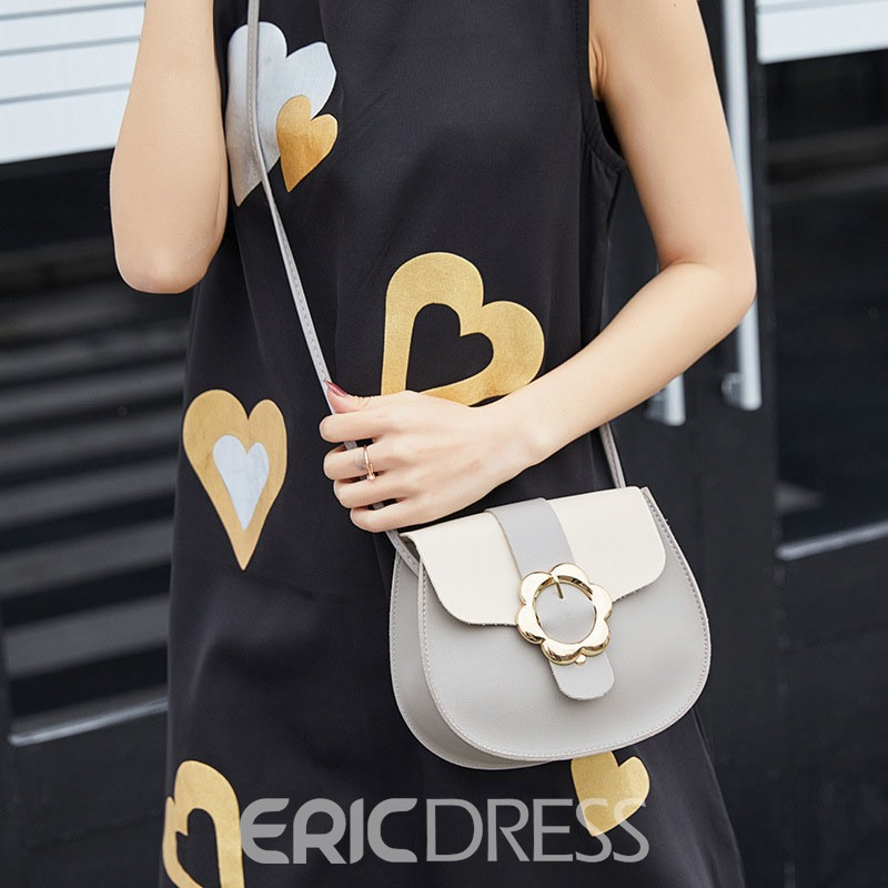 Ericdress Korean Color Block PU Saddle Crossbody Bags