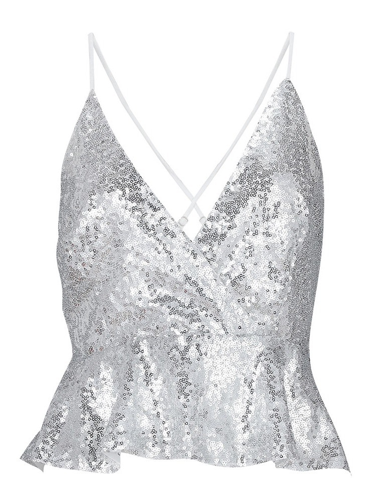 Ericdress Sequins Backless Sexy Tank Top