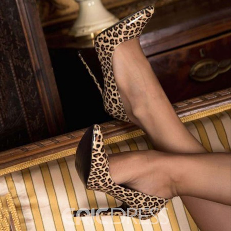 Ericdress Leopard Print Stiletto Heel Pointed Toe Women's Prom Shoes